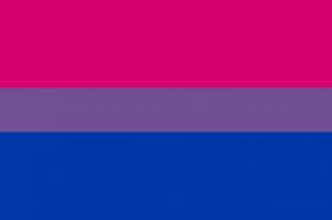 Bandeira do Orgulho Bissexual.Bandeira do Orgulho Bissexual. Descrição:  Três faixas horizontais. A faixa de cima, cor de rosa, e a faixa de baixo, azul, são mais largas. A do centro, roxa, tem a metade da largura das demais.