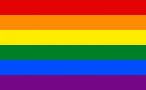 Bandeira do Orgulho LGBTDescrição: Bandeira do Orgulho LGBT: Seis faixas horizontais coloridas, de cima pra baixo, vermelho, laranja, amarelo, verde, azul, violeta.
