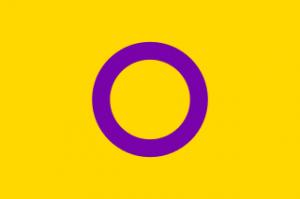 Descrição:Fundo amarelo. Ao centro, um círculo vazado de delineamento grosso na cor roxa.