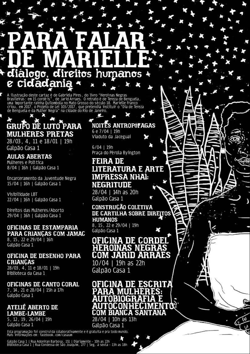 É um cartaz em preto e branco com uma ilustração com uma moça ao canto esquerdo. O fundo é preto e tem estrelas desenhadas ao fundo. O texto é o presente no site.